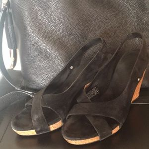UGGs Hazel style wedges, black suede leather, Sz 6